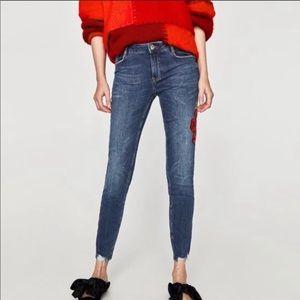 Zara Floral Embroidered Raw Hem Skinny Jean
